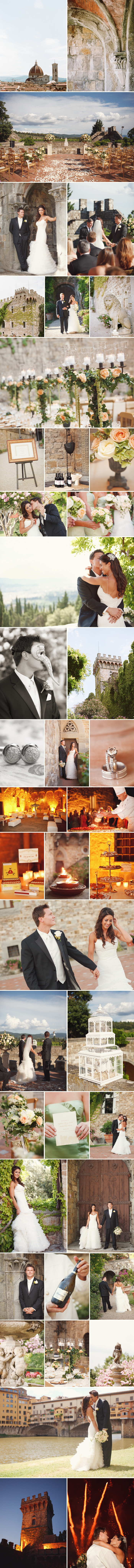Beautiful details from a wedding in Florence Italy with fireworks, dancing, castle, ceremony