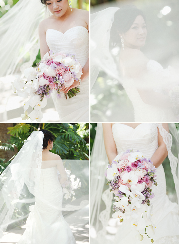 a bride with a veil and bouquet of flowers