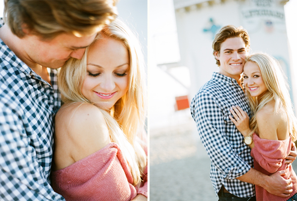engagement photos of a couple on the laguna beach pier