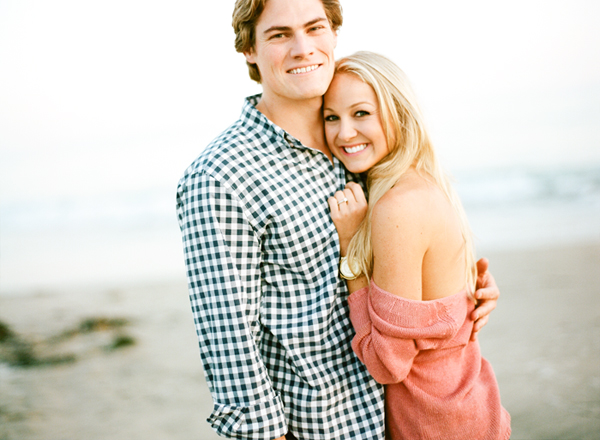 engagement photos at sunset on the beach in laguna