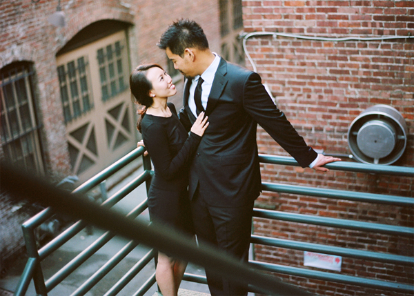 a couple on the stairs