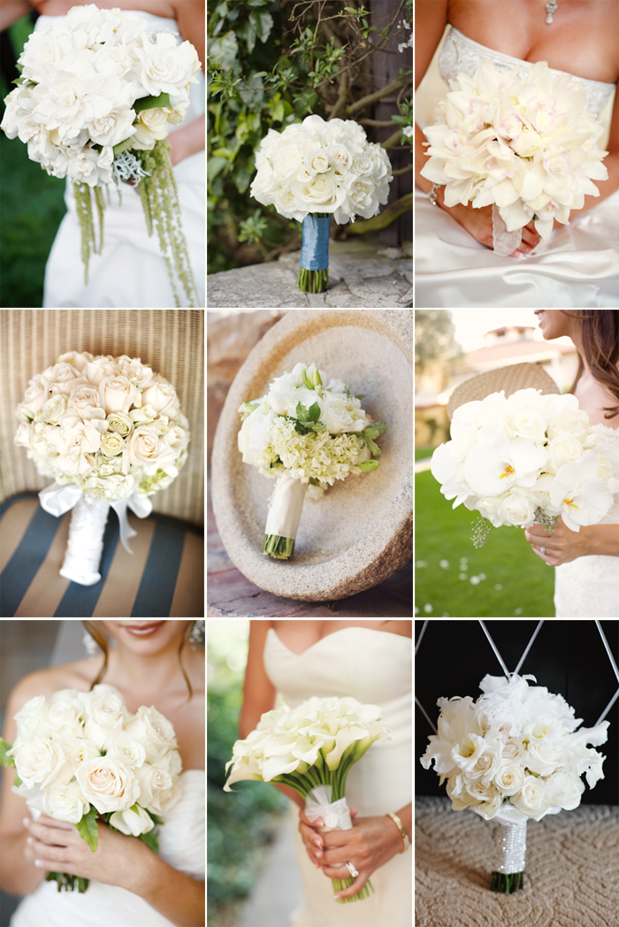 a collage of beautiful, elegant, soft, pretty white wedding bouquets for a beautiful bride